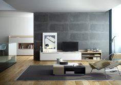 Mueble de Tv con estilo NORDICO lacado en blanco y con madera de roble chapada. Con cajones y huecos.  Mueble de TV a medida.