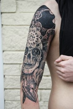 #Tattoo #Tattoos #Tatted #Ink #Inked #Skull #Mexican #Leaves #Sleeve #Half #Sick #Detail #Moon #Flower