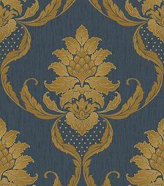 Tapet in Relief Albastru-Auriu Model Damasc Viviani – Midnight Blue-Gold 1 Damask Wallpaper, Vinyl Wallpaper, Wallpaper Roll, Albany Wallpaper, Vinyl Show, Blue Wallpapers, Midnight Blue, Blue Gold, True Colors