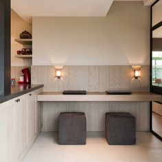 Floating desk with dark cube seats, maybe off of kitchen(? Decor Interior Design, Interior Decorating, Interior Ideas, Cube Seat, Modern Country Style, Build A Closet, Minimal Home, Home Desk, House Inside