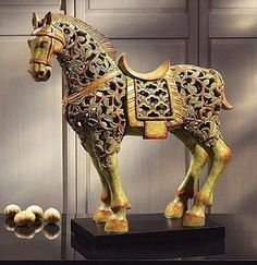 Chinese horse sculptures are a significant and important aspect of Chinese history. First made thousands of years ago when the horse was first domesticated, the beautiful form of this ubiquitous animal has led artists and craftsmen through the ages to create wonderful works of art.