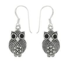 0.925 Sterling #Silver Marcasite and Agate Owl #Earring Drops