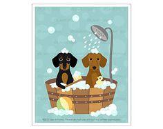 230D Dog Print - Dachshund Dogs in Wooden Bathtub Wall Art - Dog Wall Art - Dachshund Print - Doxie Art Print - Dog Bath Art - Wiener Dog