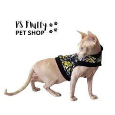 Excited to share this item from my #etsy shop: Sphynx cat clothes   Comfortable sleeveless tops #sphynxcatclothes #sleevelesstops #petclothes #petsupplies #sphynxclothes #catclothing #petclothing #sphynxclothing #graffiti Sphynx Cat Clothes, Pet Clothes, Cat Skin, 9 Month Olds, Fluffy Animals, Sleeveless Tops, Pet Shop, One Pic, Pet Supplies
