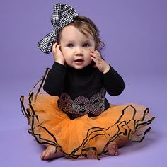Black 'Boo' Tee & Orange Pettiskirt