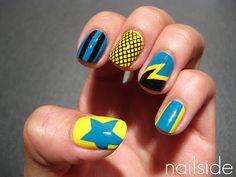 Derby nails. nail trends, color combos, nail polish designs, nail arts, roller derbi, roller derby, blues, black, blue nails
