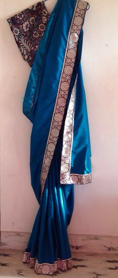 Blue raw cotton saree with woven floral border and matching cotton kalamkari print unstitched blouse by GiaExquisiteIndian on Etsy