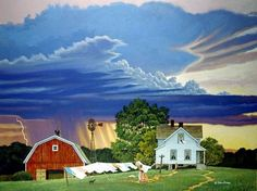 John Sloane * Change in the Weather - sky, painting, house, clean, art, john sloane
