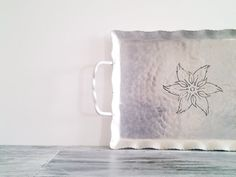 Vintage Aluminum Tray with Flower Pattern by CocoAndBear