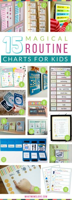 Morning and Bedtime Daily Routine Charts for Kids - perfect for keeping them on a schedule over the summer or for back to school. DIY and printable routine charts to help teach kids independence! Plus more tips, tricks and hacks to survive Summer with your kids from whatmomslove.com