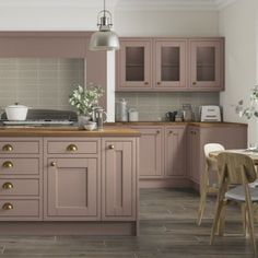 Pink Kitchen Walls, Pink Kitchen Cabinets, Pink Kitchens, Kitchen Units, Kitchen Colors, Kitchen Display, Diy Kitchen Storage, Symphony Kitchen, Houses