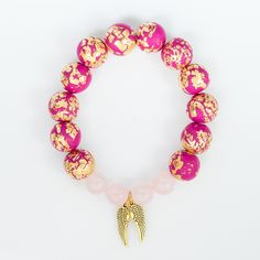Rose Quartz and Fuchsia Polymer Clay Beads - Archangel Chamuel