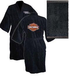 d24ed3f930 Harley-Davidson Unisex Black Kimono Robe w  Bath Towel 6055 Harley Davidson  Merchandise