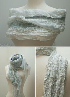 Light nuno felt scarf.