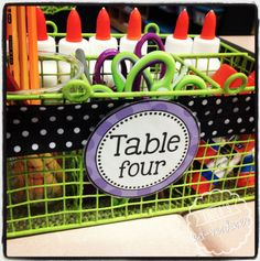 Erica's Ed-Ventures: Black & White Polka Dot Plus Brights Classroom Reveal - Table Caddy