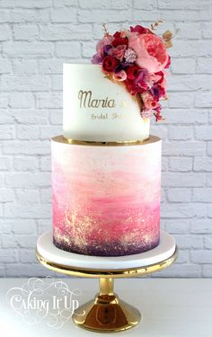 Kuchen Wedding Food And Beverage 2471232 is part of Quinceanera cakes Pink and gold watercolour cake by Caking It Up - Gorgeous Cakes, Pretty Cakes, Cute Cakes, Amazing Cakes, Beautiful Cake Designs, Beautiful Birthday Cakes, Watercolor Wedding Cake, Tattoo Watercolor, Watercolor Trees