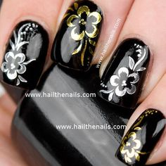 Gold or Silver Rose Flower Print Nail Art Water Transfer Decal - Polyvore