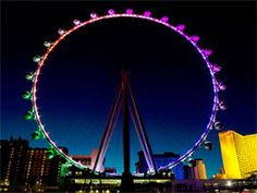 Located at the heart of the Las Vegas Strip, The High Roller is the world's largest observation wheel with 28 transparent pods holding 40 passengers each.