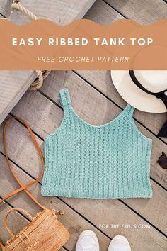 Crochet Tank Tops, Crochet Shirt, Knit Crochet, Freeform Crochet, Crochet Crafts, Easy Crochet, Cotton Crochet, Tutorial Crochet, Crochet Leg Warmers
