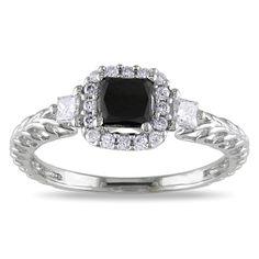 Miadora 14k Gold 5/8ct TDW Black and Diamond Engagement Ring