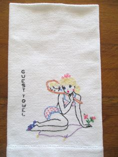 Vintage Hand Embroidered Guest Towel  1940's Pin by AStringorTwo, $22.00