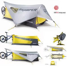 "Bikamper Tent by Topeak Bikamper is a personal shelter that utilizes a 26"" mountain or 700c road front wheel in place of tent poles."