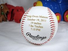 Personalized Engraved Baby Announcement Baseball by engravingwiz, $14.99