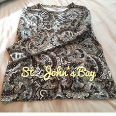Longsleeve, St. John's Bay, classic tee Longsleeve, brown and beige, medium, classic tee St. John's Bay Tops Tees - Long Sleeve