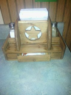 Napkin/ salt and pepper holder with small drawer...pallet wood