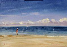 """St.Pete Beach ~5x7~ oil on linen panel"" - Original Fine Art for Sale $50.00- © Vincenza Harrity"