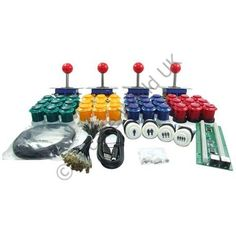 This 4 player arcade joysticks, buttons with translucent rim and wiring kit includes all the parts you will need to interface to a PC, to create a 4 player set-up. This kit is suitable for various arcade machine projects.