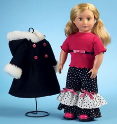"""McCalls pattern M6854 Clothes For 18"""" Doll, Accessories and Carrier:   Love the pants set but dislike polka dots.  Would like to see in other prints."""