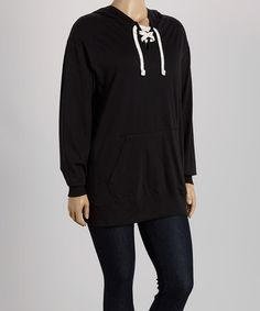 Love this Black Lace-Up Hoodie - Plus by TROO on #zulily! #zulilyfinds