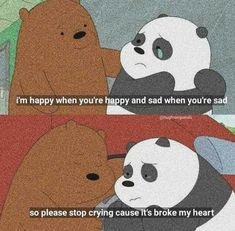 Stop being dark and depressdd and post weird quotes 😭😂((( I have fever ))) We Are Bears, Ice Bear We Bare Bears, We Bear, We Bare Bears Wallpapers, Panda Wallpapers, Cute Cartoon Wallpapers, Cartoon Quotes, Cartoon Pics, Cute Memes