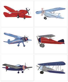 Airplane Vintage Aviator Bi Plane Blues by sweetpeasartstudio2
