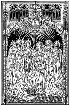 File:Pentecost - The Work of God's Children Catholic Crafts, Catholic Art, Roman Catholic, Religious Images, Religious Art, Catholic Missal, Armadura Medieval, Bible Illustrations, Christ The King