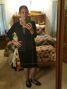 Black pencil skirt, black&white striped tank, polka dotted cardigan, black ballet flats.