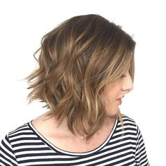 medium+brown+messy+wavy+bob