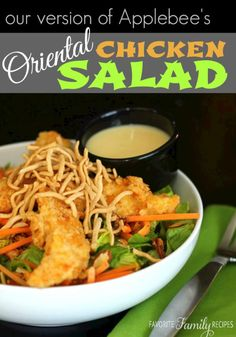 This Applebee's Oriental Chicken Salad Copycat is just like my favorite item on the menu! I love the veggies, chow mien, and crispy chicken!