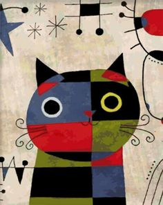 Versionant l'art amb els gats / Versionando el arte con los gatos / Versioning the art with cats Joan Miro Pinturas, Kobra Street Art, Joan Miro Paintings, Paint Your Pet, Abstract Portrait Painting, Apple Art, Needlepoint Canvases, Elements Of Art, Cat Art