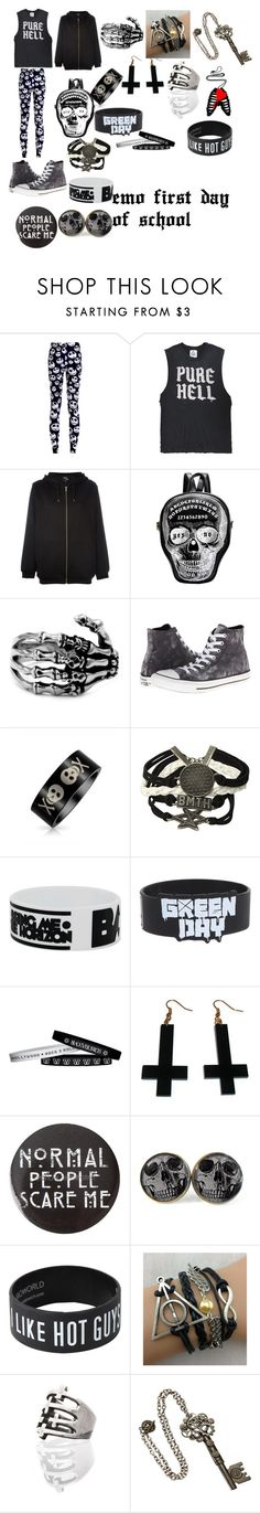 """First day of school for an emo"" by dreadful103 on Polyvore featuring UNIF, McQ by Alexander McQueen, Converse, Bling Jewelry, Chicnova Fashion, women's clothing, women's fashion, women, female and woman"