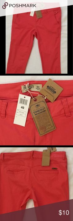 Time Out Capris Slim Fit Time Out Capris Slim Fit, Size 8 (40), Salmon Color, new with tag, length 30, Inseam 22, machine washable,soft material, Clean and Smoke Free Home Time Out Pants Capris