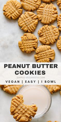 Vegan Peanut Butter Cookies - Easy to make and easier to eat thick soft and chewy homemade peanut butter cookies made in 1 bowl with peanut butter flour sugar vanilla and almond milk are the best! Desserts Keto, Vegan Dessert Recipes, Whole Food Recipes, Easy Healthy Desserts, Easy Vegan Recipes, Icing Recipes, Healthy Cookie Recipes, Chickpea Recipes, Carrot Recipes