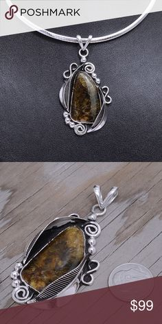 """Large Sterling Silver/Chiapas Amber (pendant only) Pendant Stamped """"925"""".  Stone has natural inclusions and cracks.  Sterling silver is an alloy of silver containing 92.5% by mass of silver and 7.5% by mass of other mThe sterling silver standard has a minimum millesimal fineness of 925.   All my jewelry is solid sterling silver. I do not plate.   Hand crafted in Taxco, Mexico.  Will ship within 2 days Jewelry Necklaces"""