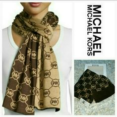 SALE Michael Kors hat and scarf set Michael Kors hat and scarf gift set. The scarf features a brown background on one side with tan circle MK logos, the other side is tan with brown circle MK logos. A perfect gift for yourself or someone else!! 100% authentic New in box with tags attached Michael Kors Accessories Scarves & Wraps