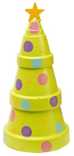 """Painted Christmas Tree Pot - Stacking clay pots has never been so fun. Create this cute Christmas Tree Pot for any room. The beautiful patio paint is what puts this all together. Of course the star """"tops the cake."""" You can pull this craft out every year. Potted Christmas Trees, Cute Christmas Tree, Christmas Tree Painting, Noel Christmas, All Things Christmas, Winter Christmas, Christmas Decorations, Xmas Tree, Christmas Colors"""
