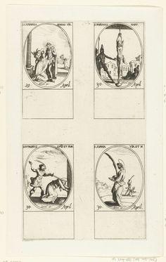 Jacques Callot | Heilige Catharina van Siena, Heilige Marianus van Lambaesis, Heilige Eutropius van Saintes, Heilige Sophia (29-30 april), Jacques Callot, 1632 - 1636 | Blad met vier ovale voorstellingen, elk met opschrift en datum in het Latijn: linksboven de Heilige Catharina van Siena die Christus ontmoet, rechtsboven de Heilige Marianus aan de handen opgehangen, linksonder de Heilige Eutropius door een man met een zwaard gedood, rechtsonder de Heilige Sophia met een palmtak. Deze prent…