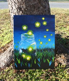 Whimsical Firefly Mason Jar Acrylic Painting on by ArtsyAbsurdity