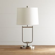 Crate & Barrel Stirrup Brushed Nickel Table Lamp ($179) ❤ liked on Polyvore featuring home, lighting, table lamps, white lights, crate and barrel lighting, crate and barrel table lamps, white table lamp and crate and barrel