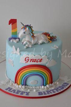 unicorn & rainbow 1st birthday cake - by designed by mani @ CakesDecor.com - cake decorating website